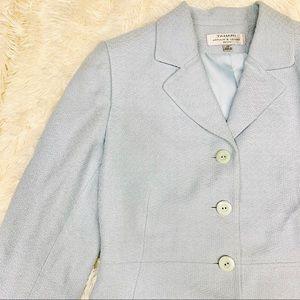 Tahari Arthur S Levine Blue Basketweave Blazer 10P